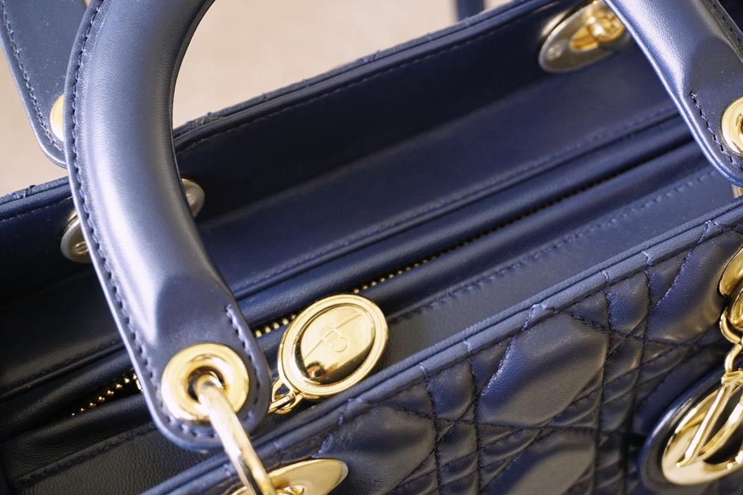 Dior 迪奥 戴妃包 Lady Dior 五格 24cm 羊皮 海军蓝 金扣