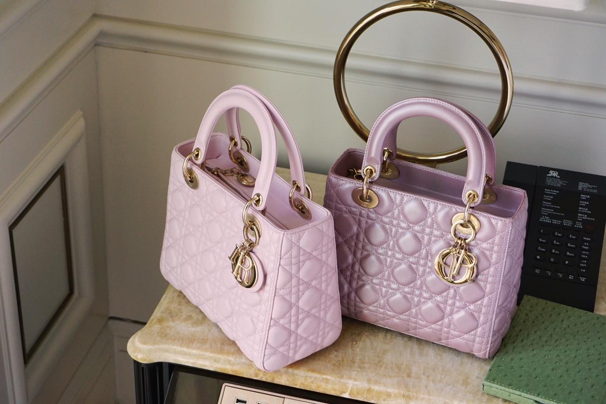 Dior 迪奥 戴妃包 Lady Dior 五格 24cm 羊皮 珠光粉 淡粉色 金扣