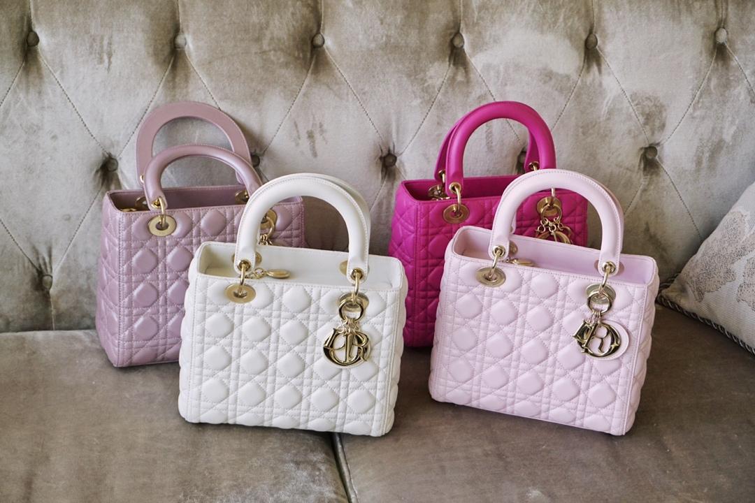 Dior 迪奥 戴妃包 Lady Dior 五格 24cm 羊皮 白色 天方夜谭紫 珠光粉 淡粉色 金扣