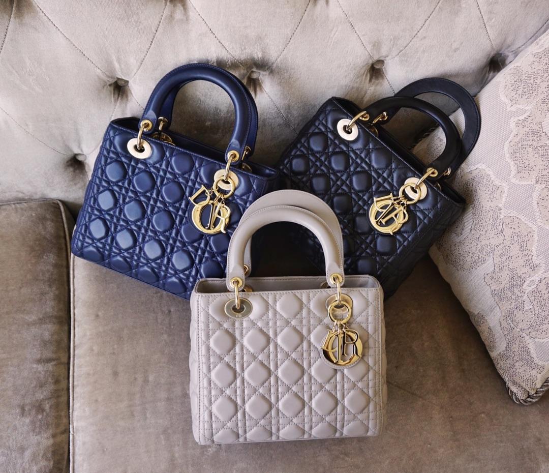 Dior 迪奥 戴妃包 Lady Dior 五格 24cm 羊皮 电光蓝 黑色 风衣灰 金扣