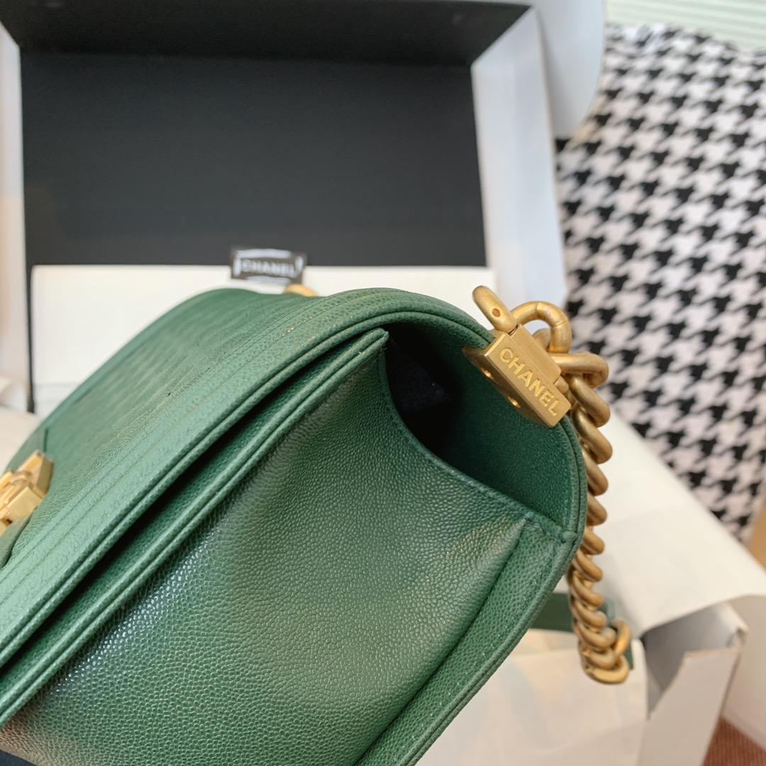 Chanel 香奈儿Leboy 顶级代购版本  25cm~原厂蚂蚁纹~墨绿色~纱金