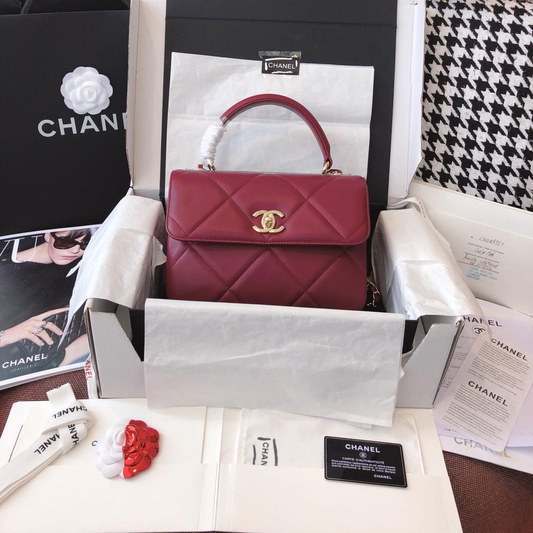 【正品级】 法国进口小羊皮ChanelTrendy CC大格25cm香槟金