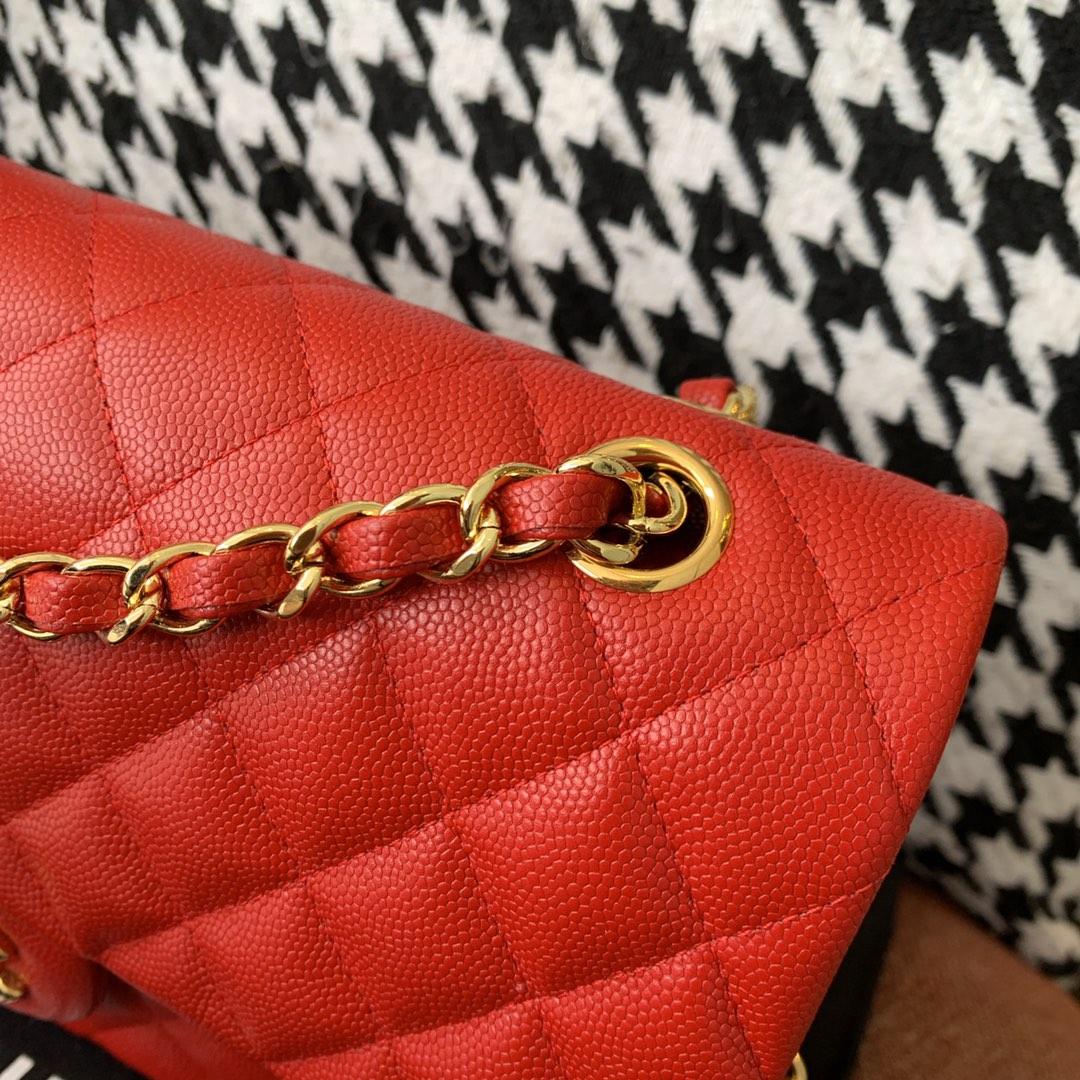 【正品级】砖红色 金扣 Chanel CF 法国原厂Haas小球纹小鱼子酱牛皮 25cm