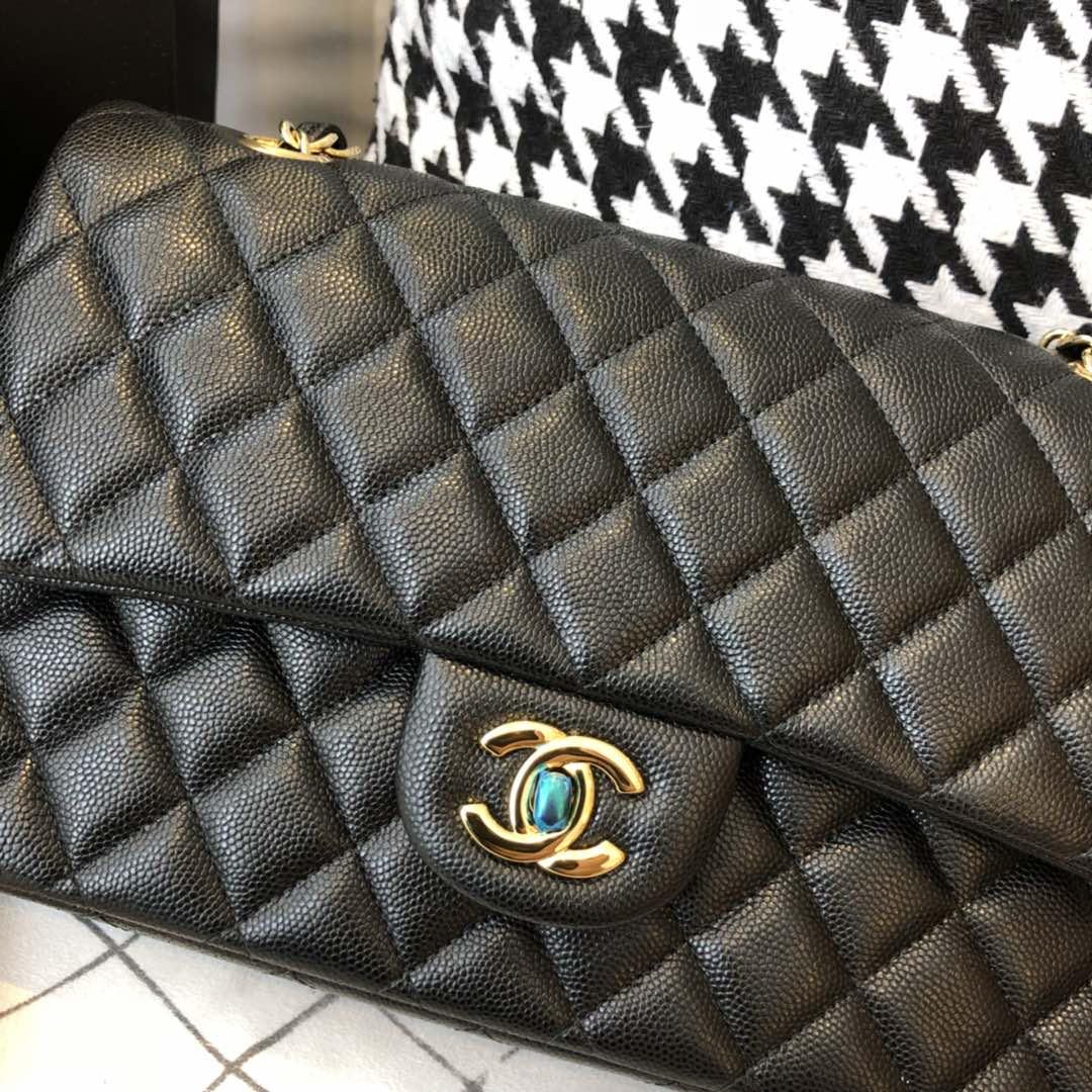 【正品级】~Chanel CF 法国原厂Haas球纹小鱼子酱牛皮 25cm 黑色—金扣