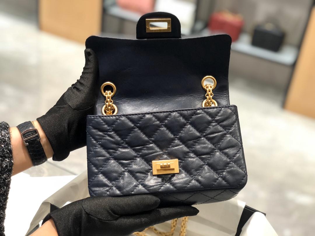 香奈儿 Chanel 正品级《复刻2.55》20cm~进口树羔羊皮~蓝色~磨砂金扣