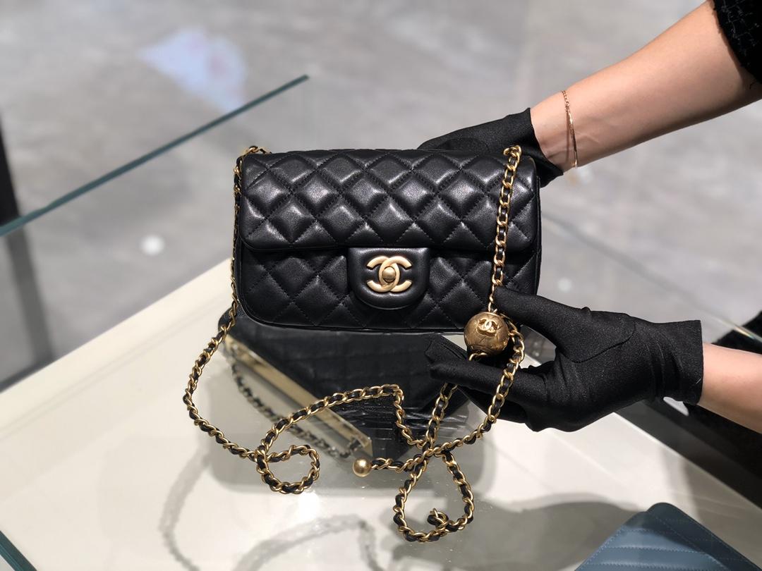 2020~超美金属球方胖子Chanel尺寸13.20.7cm保留经典配上复古五金超好看黑色