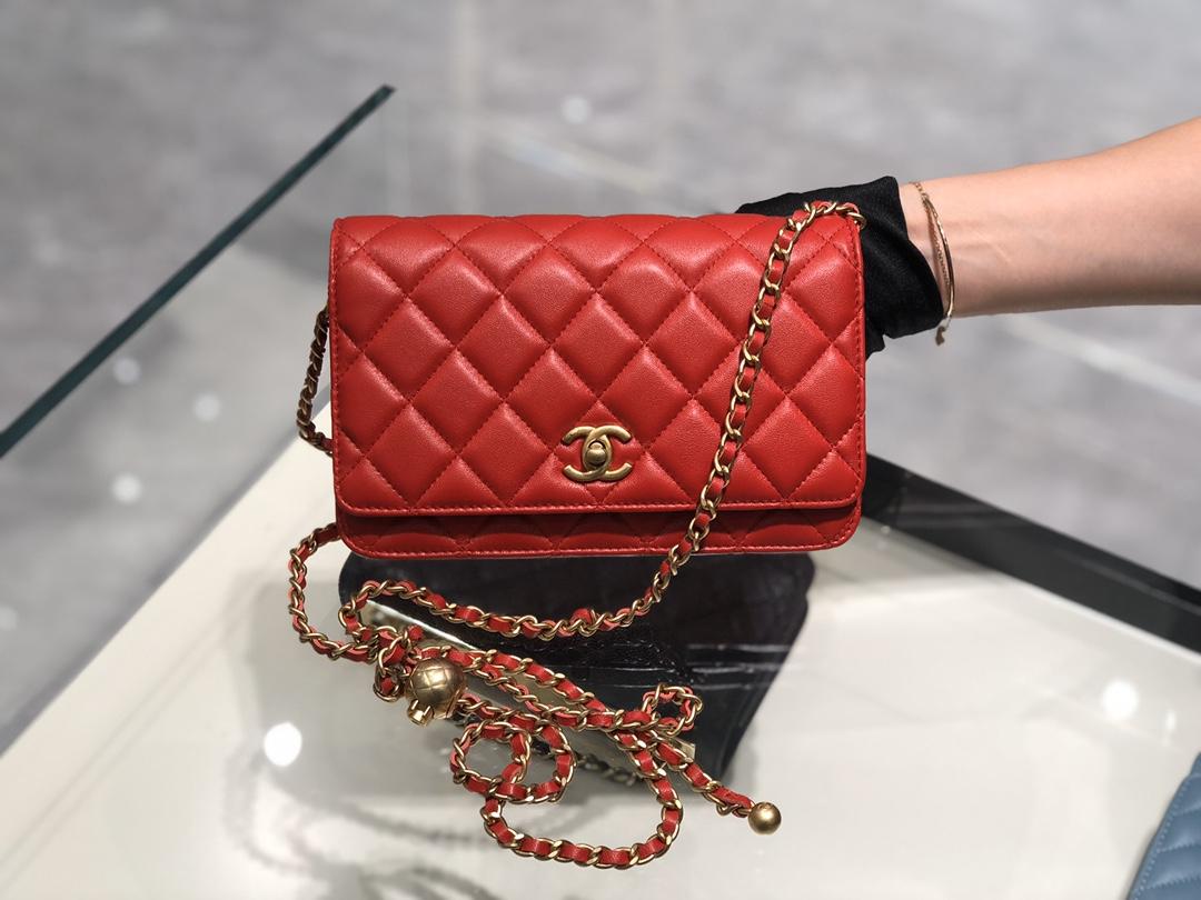 2020~超美金属球发财包Chanel~保留经典~配上复古五金~超好看~红色~19Cm