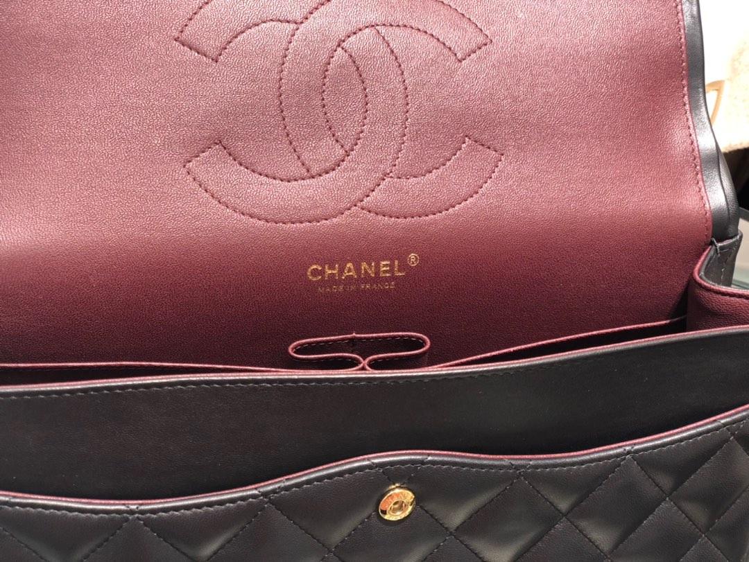 香奈儿香港官网【真品级】原厂《Classic Flap》代购版本 30cm~原厂小羊皮~黑色~金扣